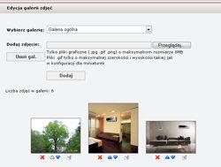 CMS - edytor galerii zdjęć - widok modułu uploadu grafik